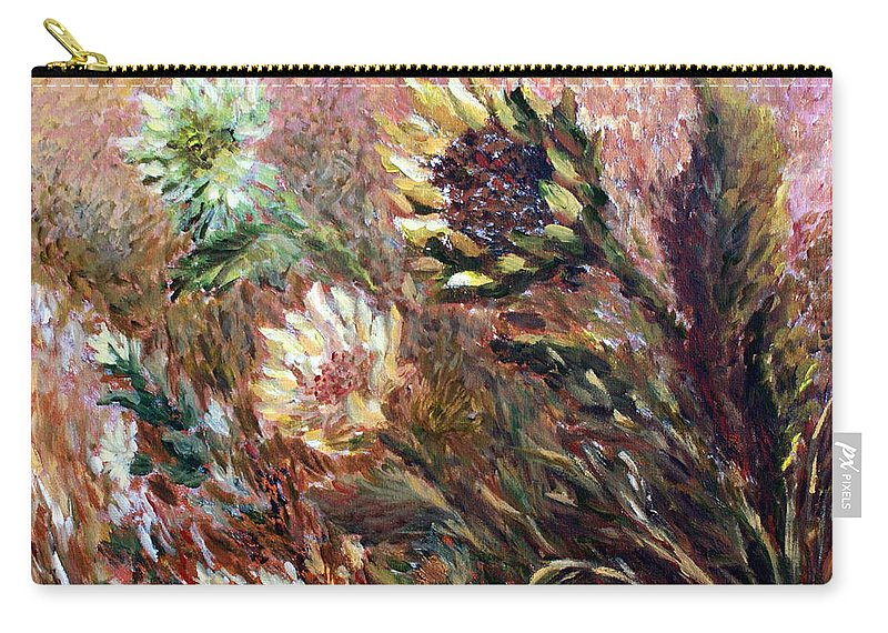 Sunflowers Carry-all Pouch featuring the painting Sunflowers by Jo Smoley