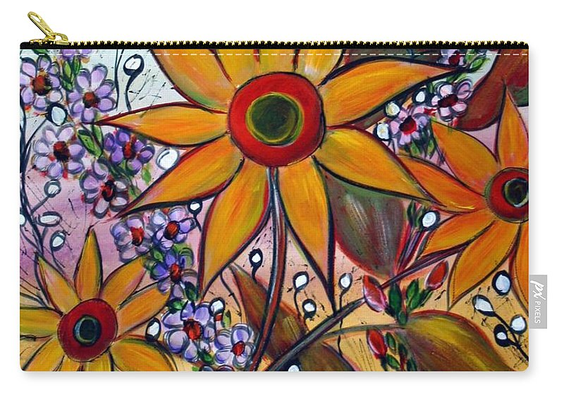 Flowers Carry-all Pouch featuring the painting Sunflowers by Luiza Vizoli