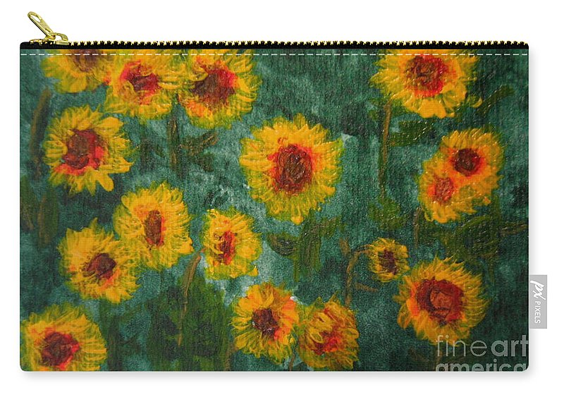 Acrylic Carry-all Pouch featuring the painting Sunflowers by Lynne Reichhart