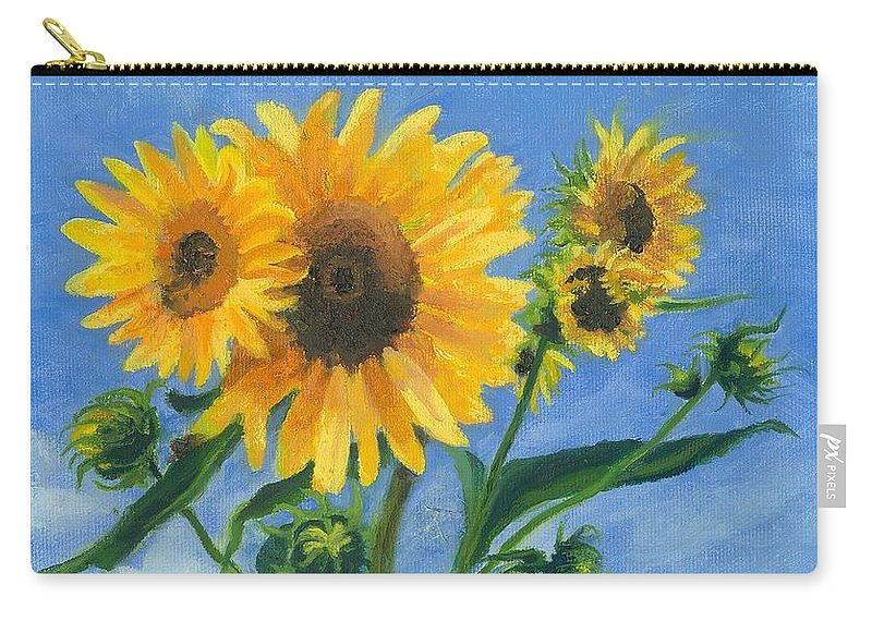 Flowers Carry-all Pouch featuring the painting Sunflowers On Bauer Farm by Paula Emery