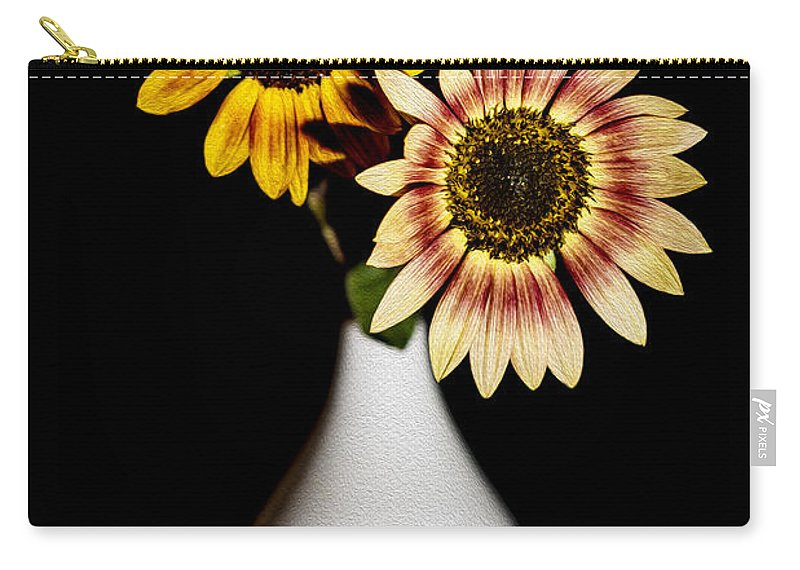Sunflowers Carry-all Pouch featuring the photograph Sunflowers On Black Background And In White Vase by Vishwanath Bhat