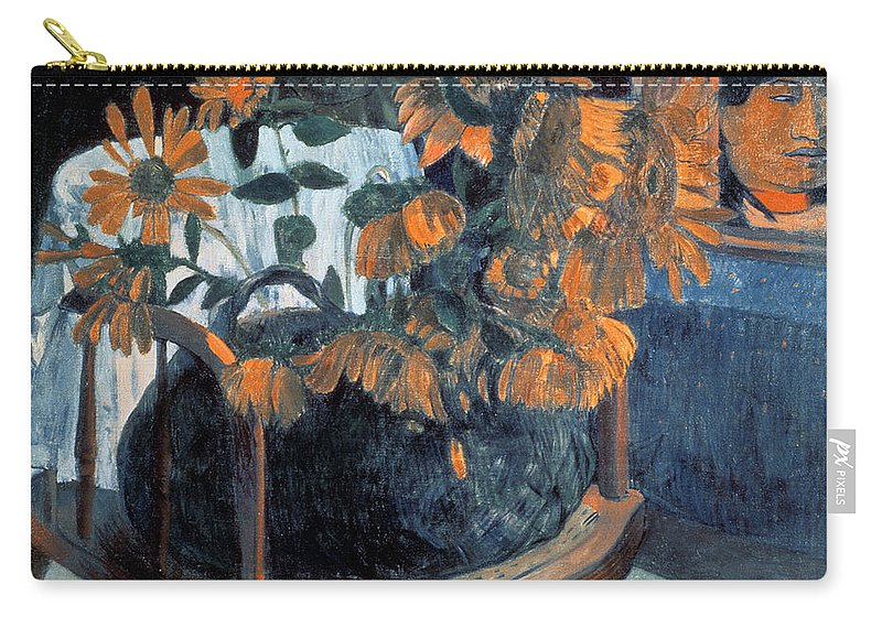 Sunflowers Carry-all Pouch featuring the painting Sunflowers, 1901 By Paul Gauguin by Paul Gauguin
