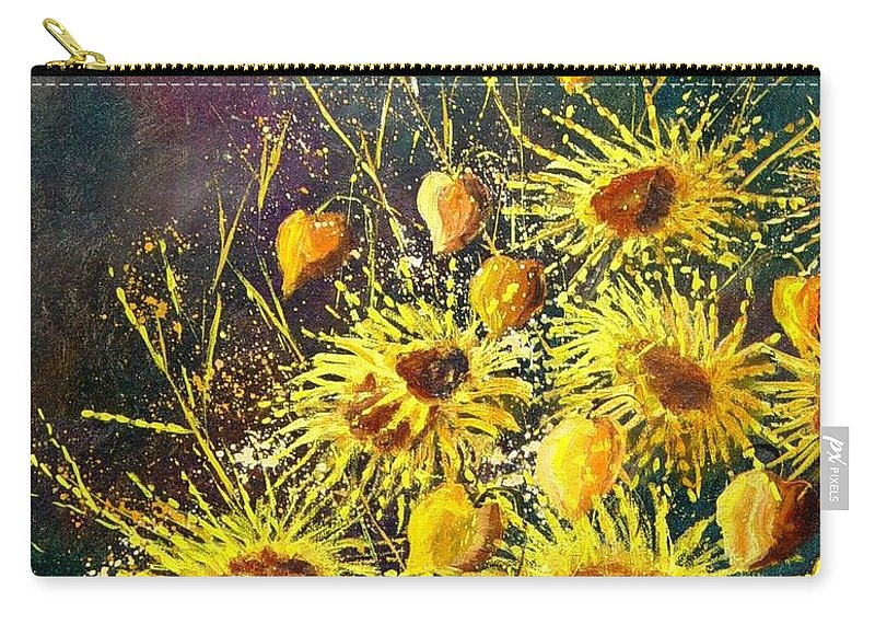 Flowers Carry-all Pouch featuring the painting Sunflowers by Pol Ledent