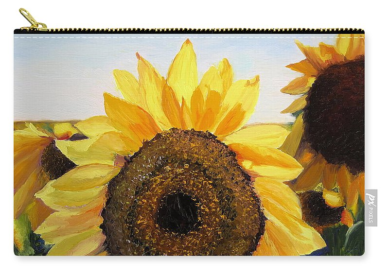 Sunflower Carry-all Pouch featuring the painting Sunflowers Squared by Lea Novak