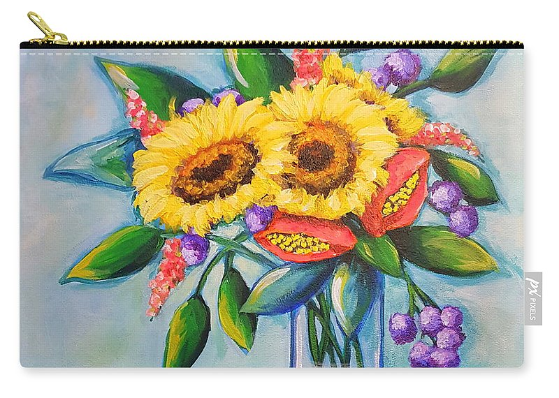 Sunflowers Carry-all Pouch featuring the painting Sunkissed by Sandra Lett