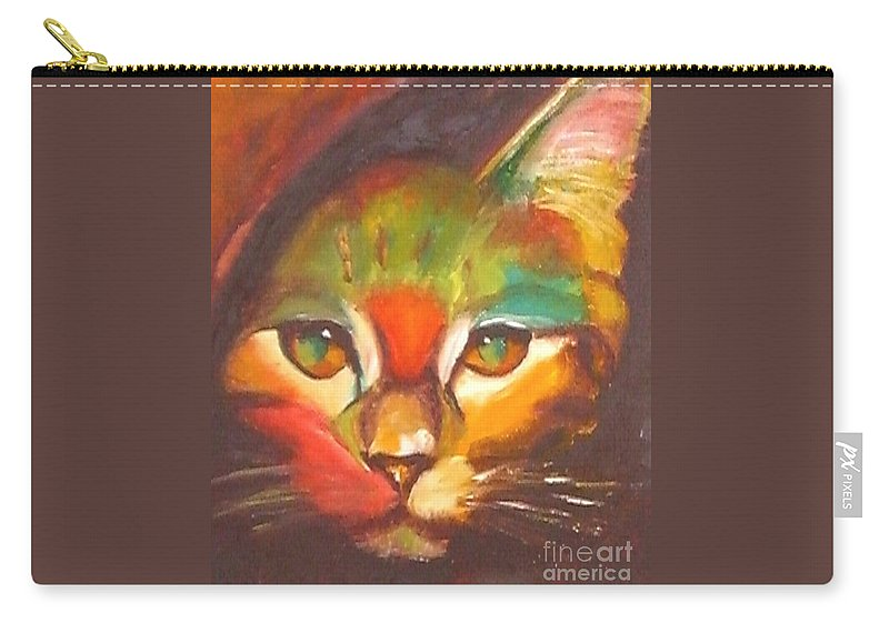 Cat Carry-all Pouch featuring the painting Sunkist by Susan A Becker