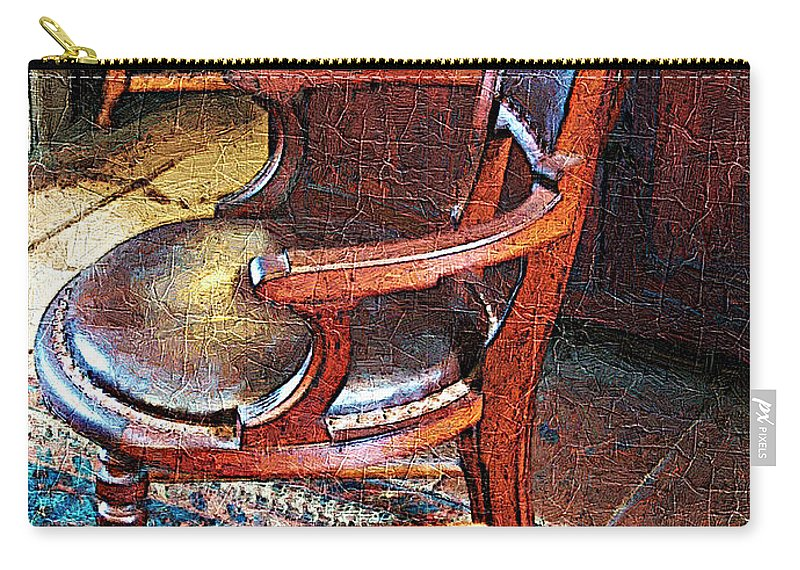 Antiques Carry-all Pouch featuring the digital art Sunlight On Leather Chair by RC DeWinter
