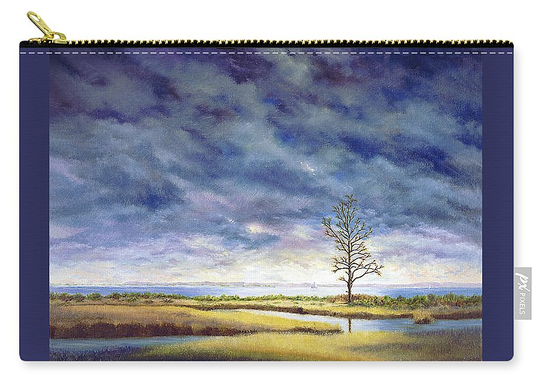 Carry-all Pouch featuring the painting Sunlight On The Marshes 18x24 by Tony Scarmato