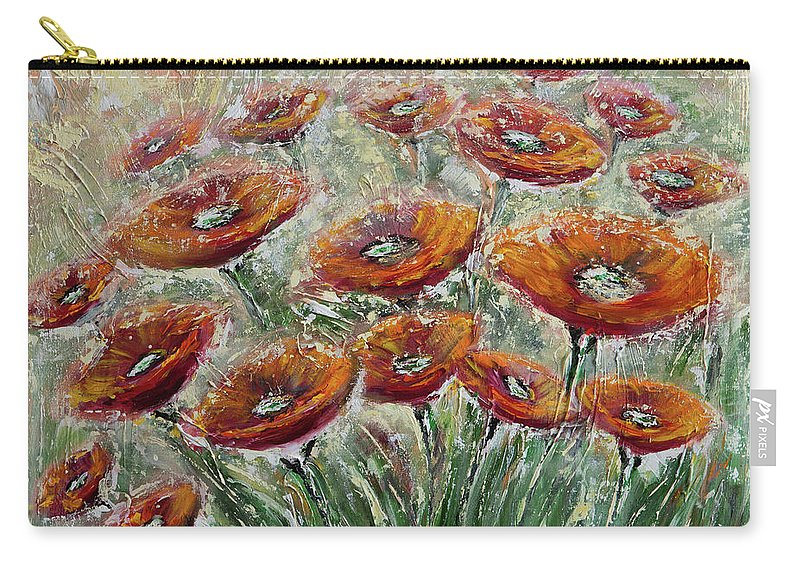 Poppies Carry-all Pouch featuring the painting Sunlight Poppies by Elena Nesterenko