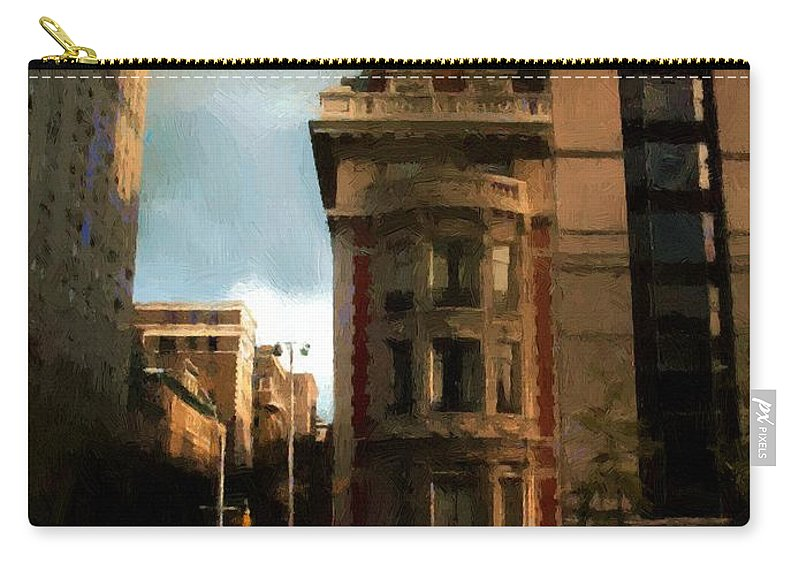 Buildings Carry-all Pouch featuring the painting Sunlight Slant On Midtown by RC DeWinter