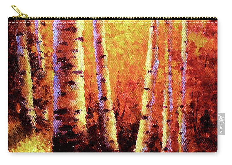 Sunlight Carry-all Pouch featuring the painting Sunlight Through The Aspens by David G Paul