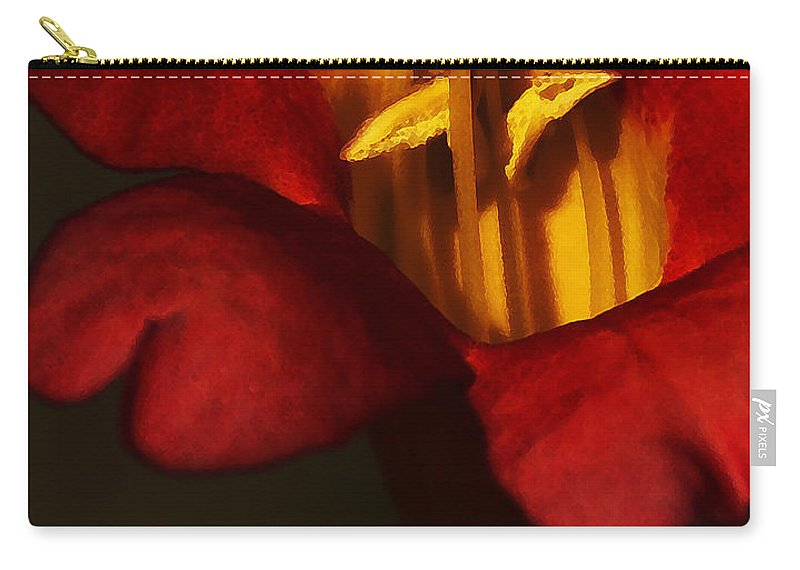 Flower Carry-all Pouch featuring the photograph Sunlit Attraction by Linda Shafer