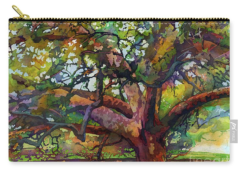 Oak Carry-all Pouch featuring the painting Sunlit Century Tree by Hailey E Herrera