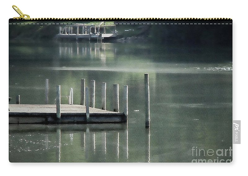 Dock Carry-all Pouch featuring the photograph Sunlit Dock by Todd A Blanchard
