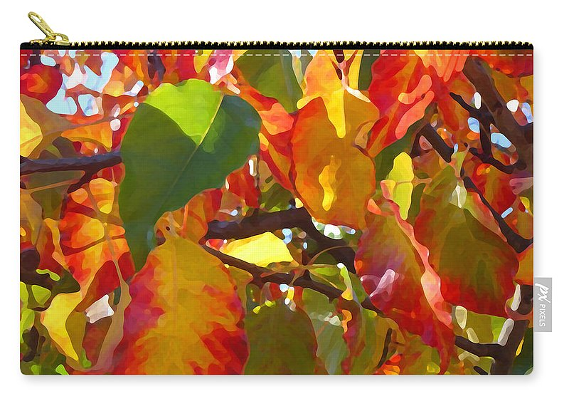Fall Leaves Carry-all Pouch featuring the photograph Sunlit Fall Leaves by Amy Vangsgard