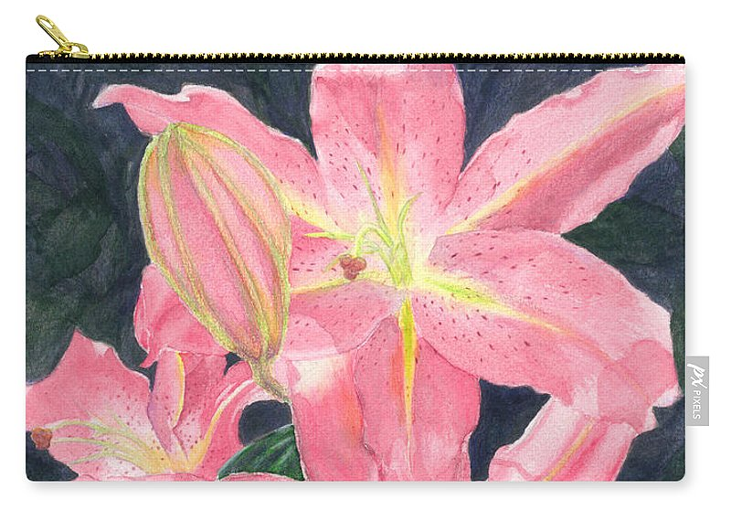 Floral Carry-all Pouch featuring the painting Sunlit Lilies by Lynn Quinn