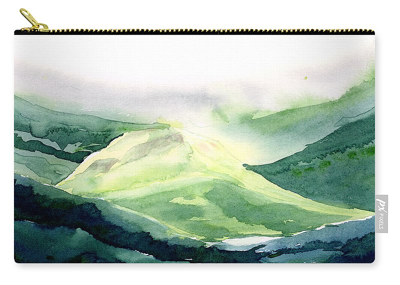 Landscape Carry-all Pouch featuring the painting Sunlit Mountain by Anil Nene