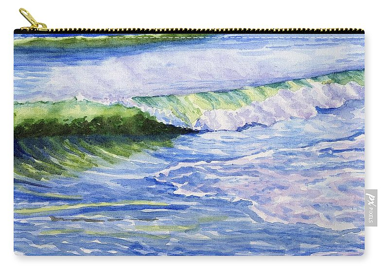 Seascape Carry-all Pouch featuring the painting Sunlit Surf by Sharon E Allen