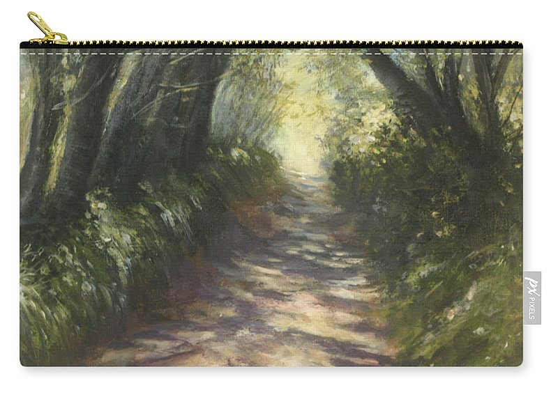 Country Lane Carry-all Pouch featuring the painting Sunlit by Valerie Travers