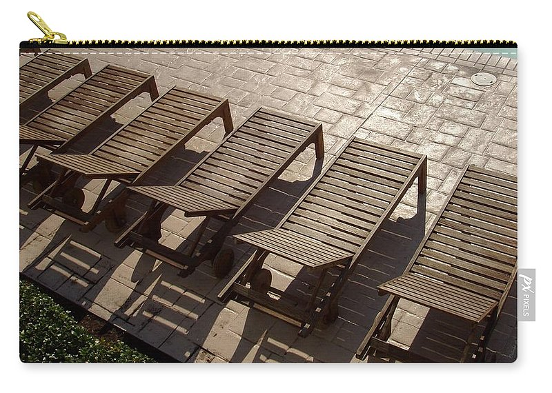 Swimming Pool Carry-all Pouch featuring the photograph Sunning Chairs by Deborah Crew-Johnson