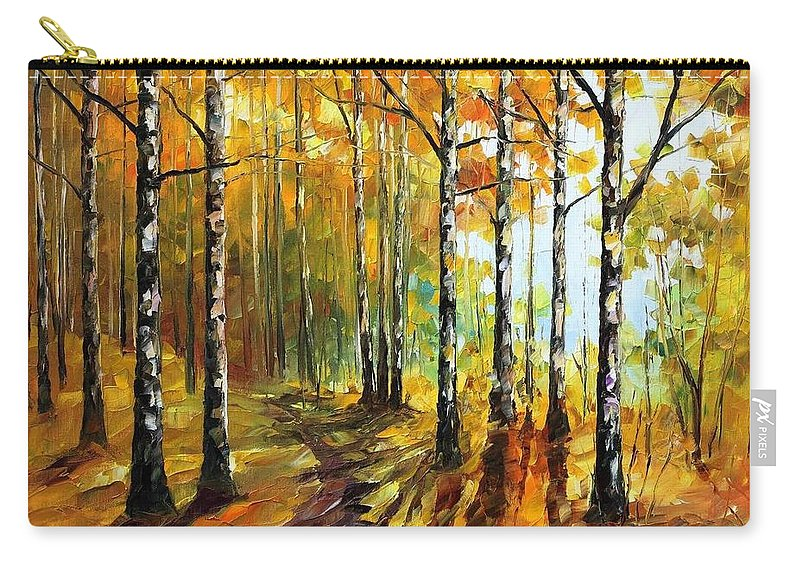 Afremov Carry-all Pouch featuring the painting Sunny Birches by Leonid Afremov