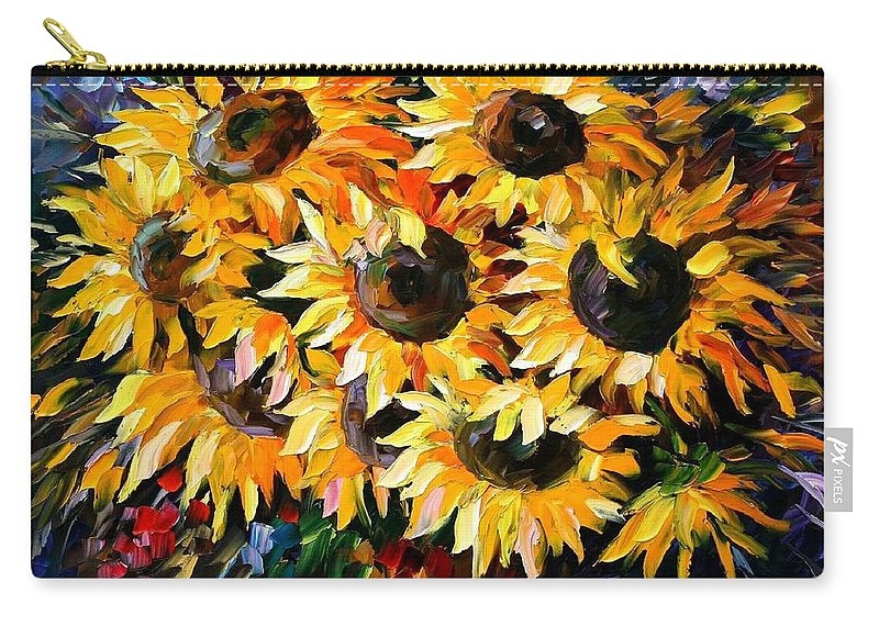 Floral Carry-all Pouch featuring the painting Sunny Bouquet by Leonid Afremov