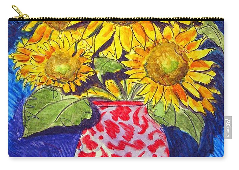 Sunflower Carry-all Pouch featuring the painting Sunny Disposition by Jean Blackmer