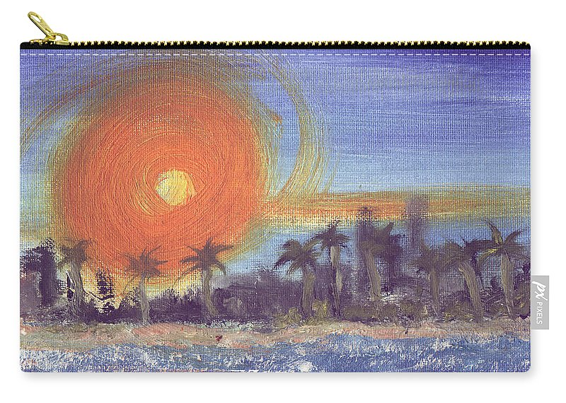 Seashore Carry-all Pouch featuring the painting Sunny Palms by Jorge Delara