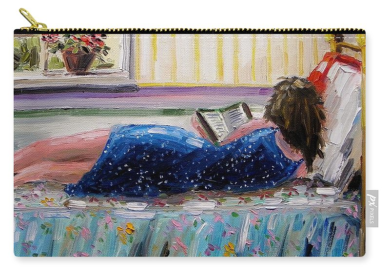 Girl Carry-all Pouch featuring the painting Sunny Reading by John Williams