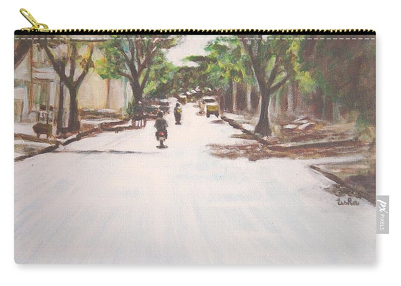 Sun Carry-all Pouch featuring the painting Sunny Road by Usha Shantharam