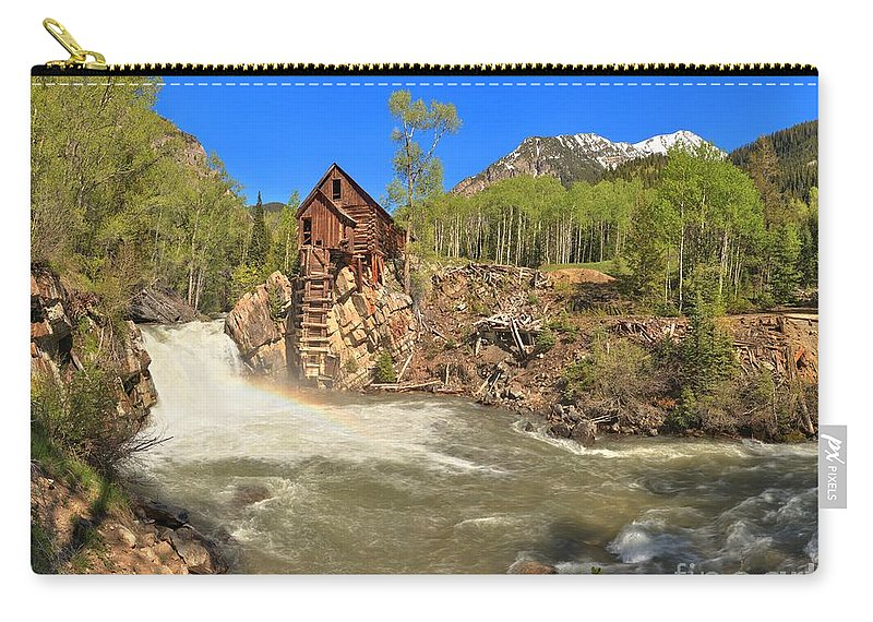 Crystal Mill Carry-all Pouch featuring the photograph Sunny Skies Over The Crystal Mill by Adam Jewell
