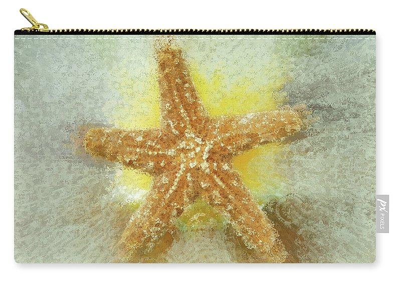 Beach Art Carry-all Pouch featuring the photograph Sunny Star by Linda Sannuti