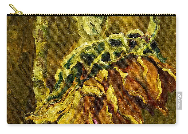 Floral Carry-all Pouch featuring the painting Sunny Sunflower by Diane Whitehead