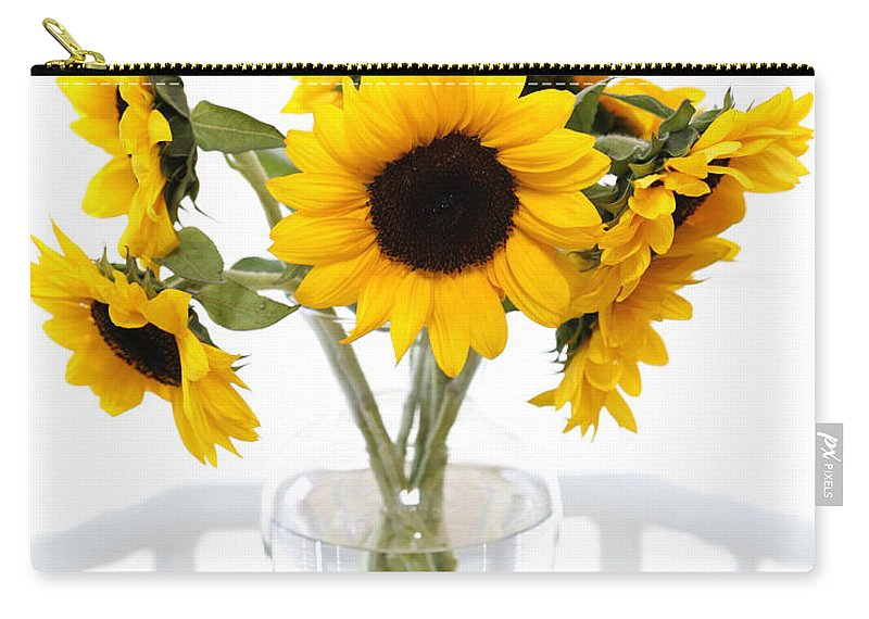 Sunflower Carry-all Pouch featuring the photograph Sunny Vase Of Sunflowers by Marilyn Hunt