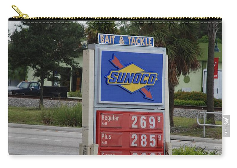 Gas Station Carry-all Pouch featuring the photograph Sunoco Bait And Tackle by Rob Hans
