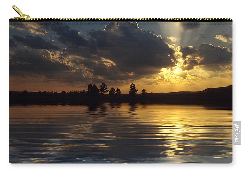 Sunset Carry-all Pouch featuring the photograph Sunray Sunset by Jerry McElroy