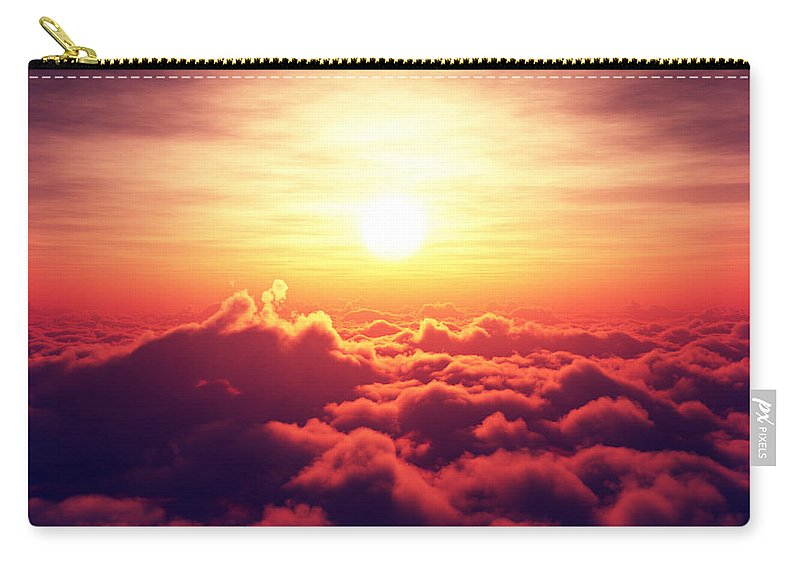 Sunrise Carry-all Pouch featuring the photograph Sunrise above the clouds by Johan Swanepoel