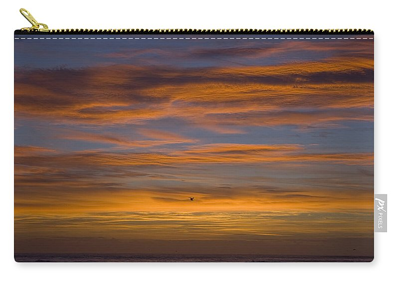 Sun Sunrise Cloud Clouds Morning Early Bright Orange Bird Flight Fly Flying Blue Ocean Water Waves Carry-all Pouch featuring the photograph Sunrise by Andrei Shliakhau