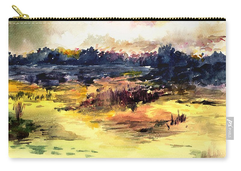 Landscape Water Color Sky Sunrise Water Watercolor Digital Mixed Media Carry-all Pouch featuring the painting Sunrise by Anil Nene
