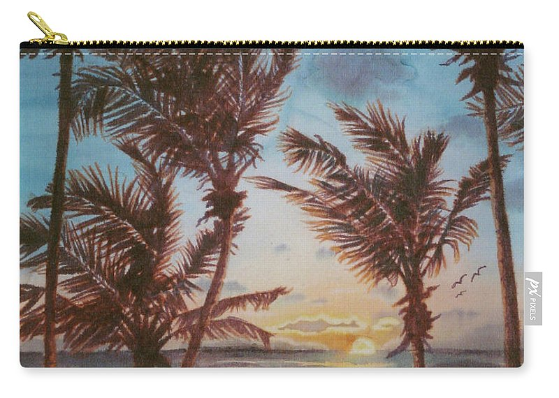Coconut Tree Carry-all Pouch featuring the painting Sunrise At Cattlewash 3 by Deborah Younglao
