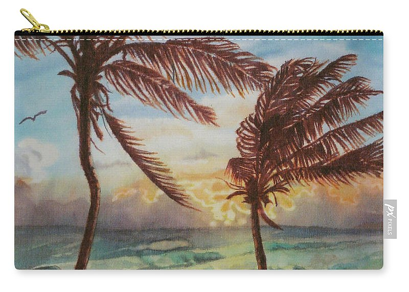 Coconut Tree Carry-all Pouch featuring the painting Sunrise At Cattlewash 4 by Deborah Younglao