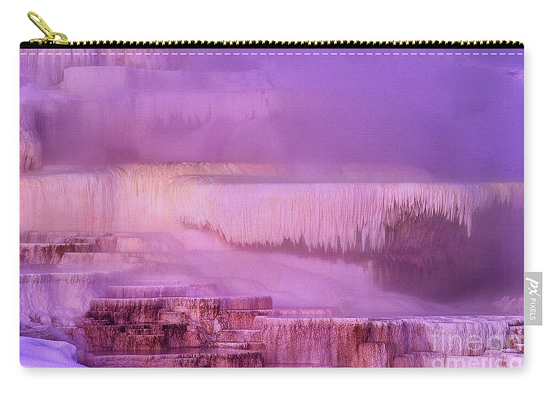 North America Carry-all Pouch featuring the photograph Sunrise At Minerva Springs Yellowstone National Park by Dave Welling