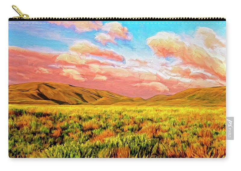Sunrise At Montana De Oro Carry-all Pouch featuring the painting Sunrise At Montana De Oro by Dominic Piperata