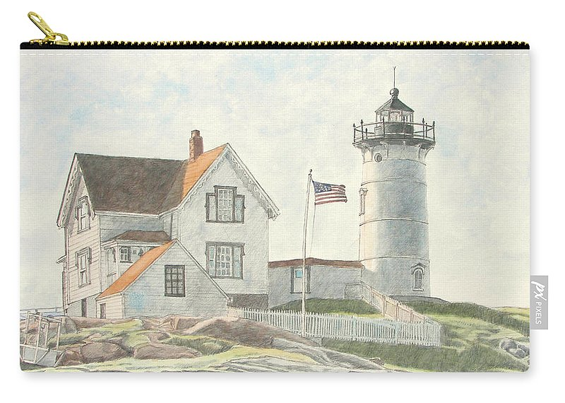 Watercolor Carry-all Pouch featuring the painting Sunrise At Nubble Light by Dominic White