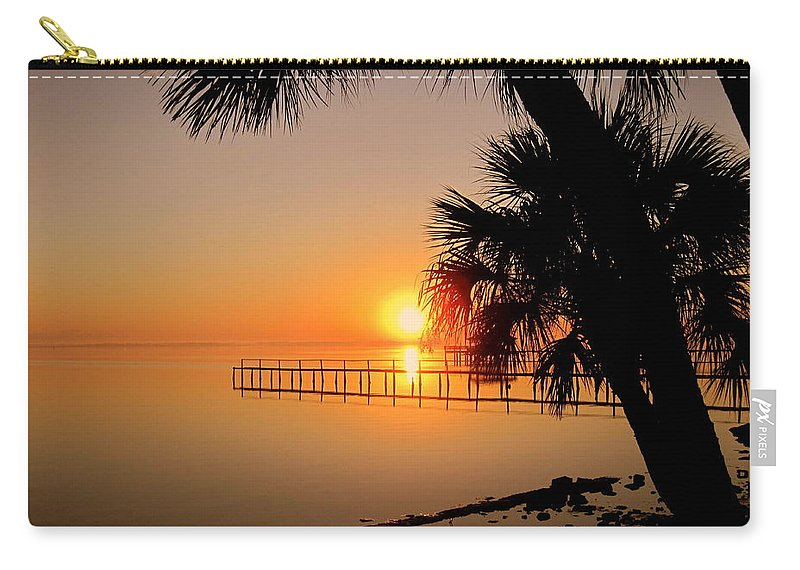 Sunrise Carry-all Pouch featuring the photograph Sunrise At The Pier by Susanne Van Hulst