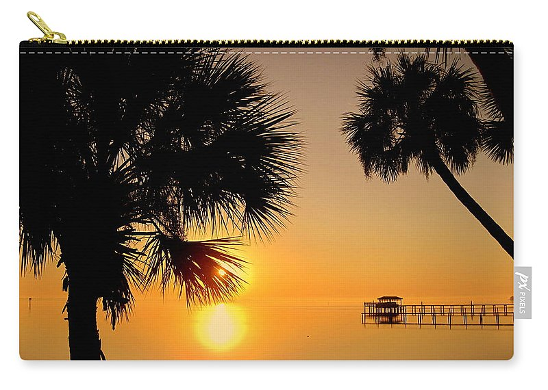 Sunrise Carry-all Pouch featuring the photograph Sunrise At The Space Coast Fl by Susanne Van Hulst