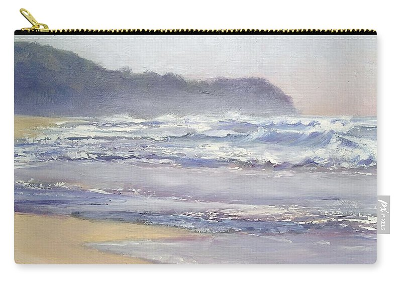 Sunrise Beach Carry-all Pouch featuring the painting Sunrise Beach Sunshine Coast Queensland Australia by Chris Hobel