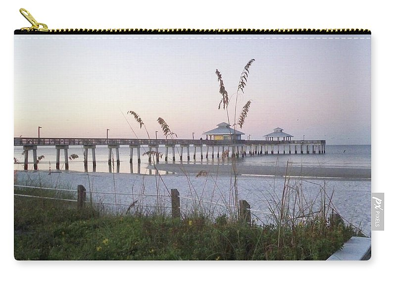 Florida Carry-all Pouch featuring the photograph Sunrise Beyond Pier by Chris Andruskiewicz