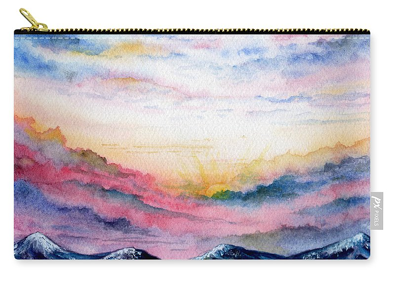 Watercolor Carry-all Pouch featuring the painting Sunrise by Brenda Owen