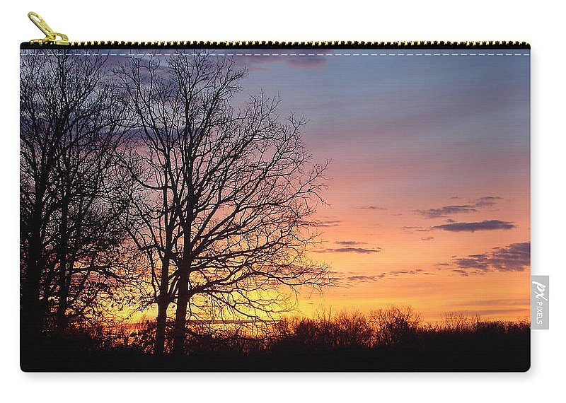 Tree Black Orange Carry-all Pouch featuring the photograph Sunrise In Illinois by Luciana Seymour